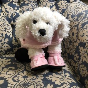 Build a Bear white puppy with pink coat and shoes